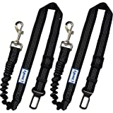 Zenify Dog Car Seat Belt Extendable Lead (2 Pack) - Bungee Leash for Dogs Puppies - Pet Adjustable Elastic Seatbelt…