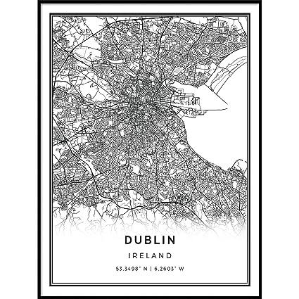 Amazon.com: Squareious Dublin map poster print | Modern ...