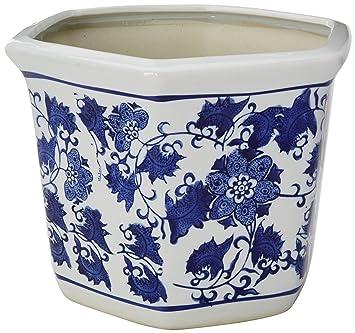 Amazon Com Oriental Furniture 10 Floral Blue White Porcelain