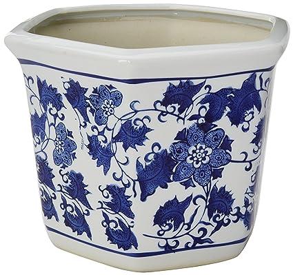 Amazon oriental furniture 10 floral blue white porcelain oriental furniture 10quot floral blue white porcelain flower pot mightylinksfo