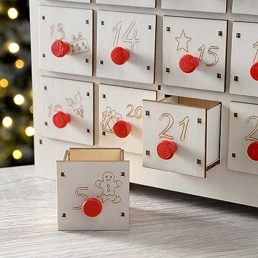 Calendario de adviento de Navidad, Madera, Multicolor, 36/cm /Figuras de bel/én WeRChristmas/