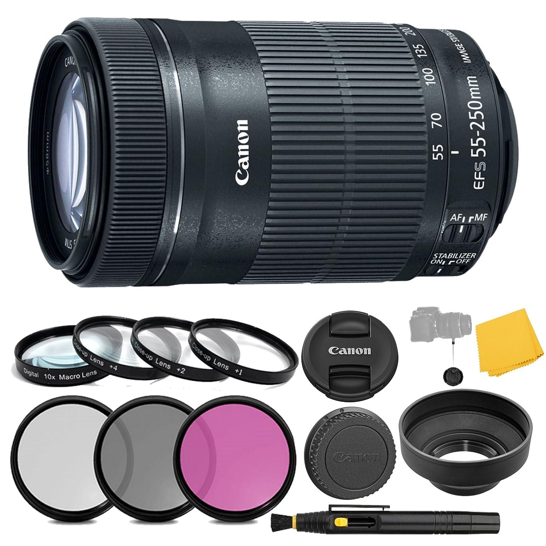 Canon EF - S 55 – 250 mm f / 4 – 5.6 is STMレンズ+ 3枚フィルタセット+ 4 Piece Close Upマクロフィルター+レンズクリーニングペン+ Pro Accessoryバンドル – 55 – 250 mm STM :ステッパーモーターレンズ – インターナショナルバージョン   B071JG8CC4