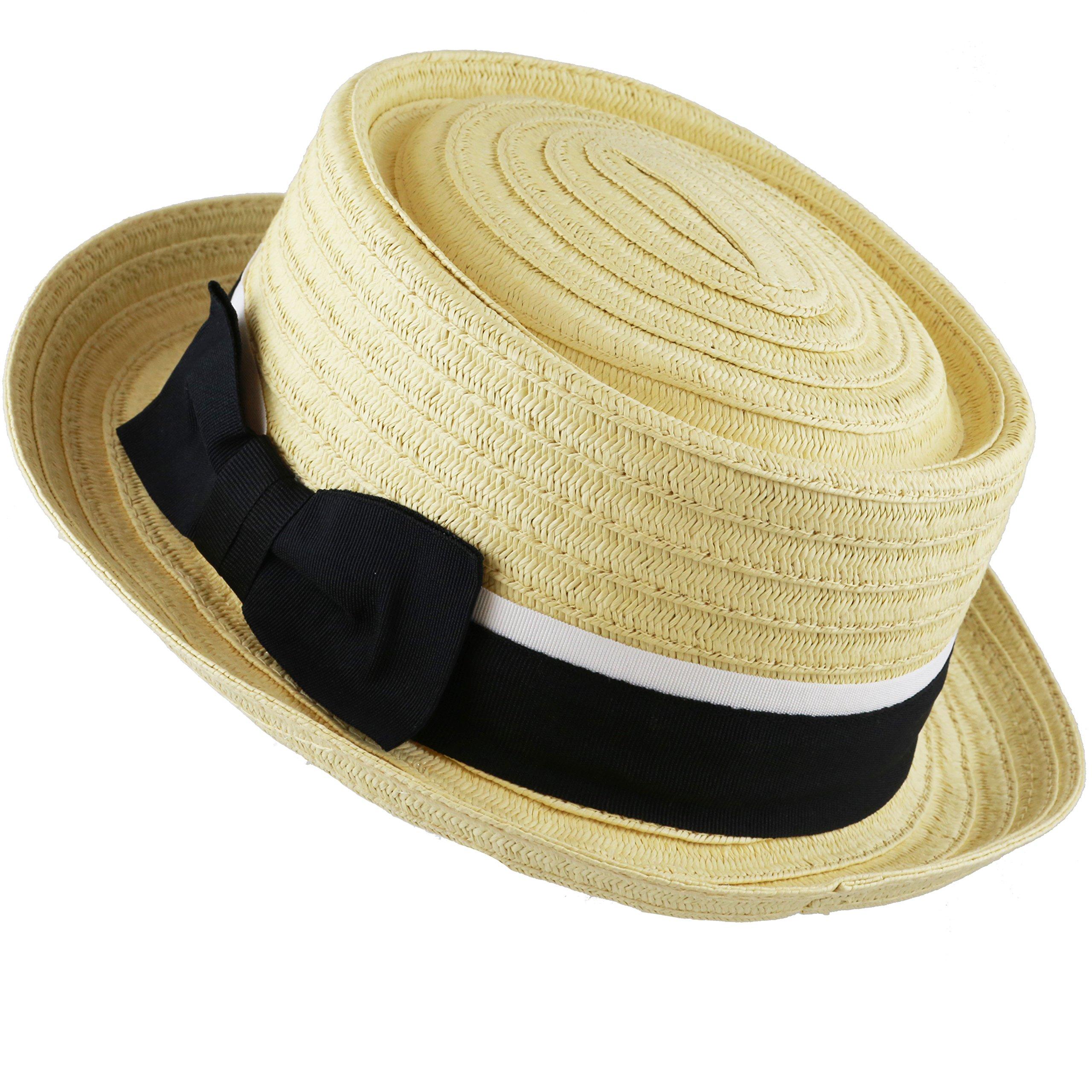 The Hat Depot Unisex Summer Paper Straw Short Brim Porkpie Hat (Natural)