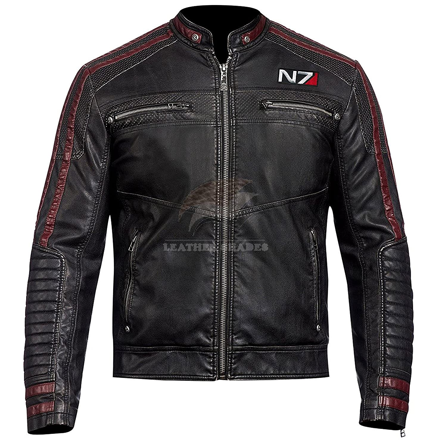 Men's Mass Effect 3 Game N7 Motorcycle Biker Style Black Gamer Leather Jacket