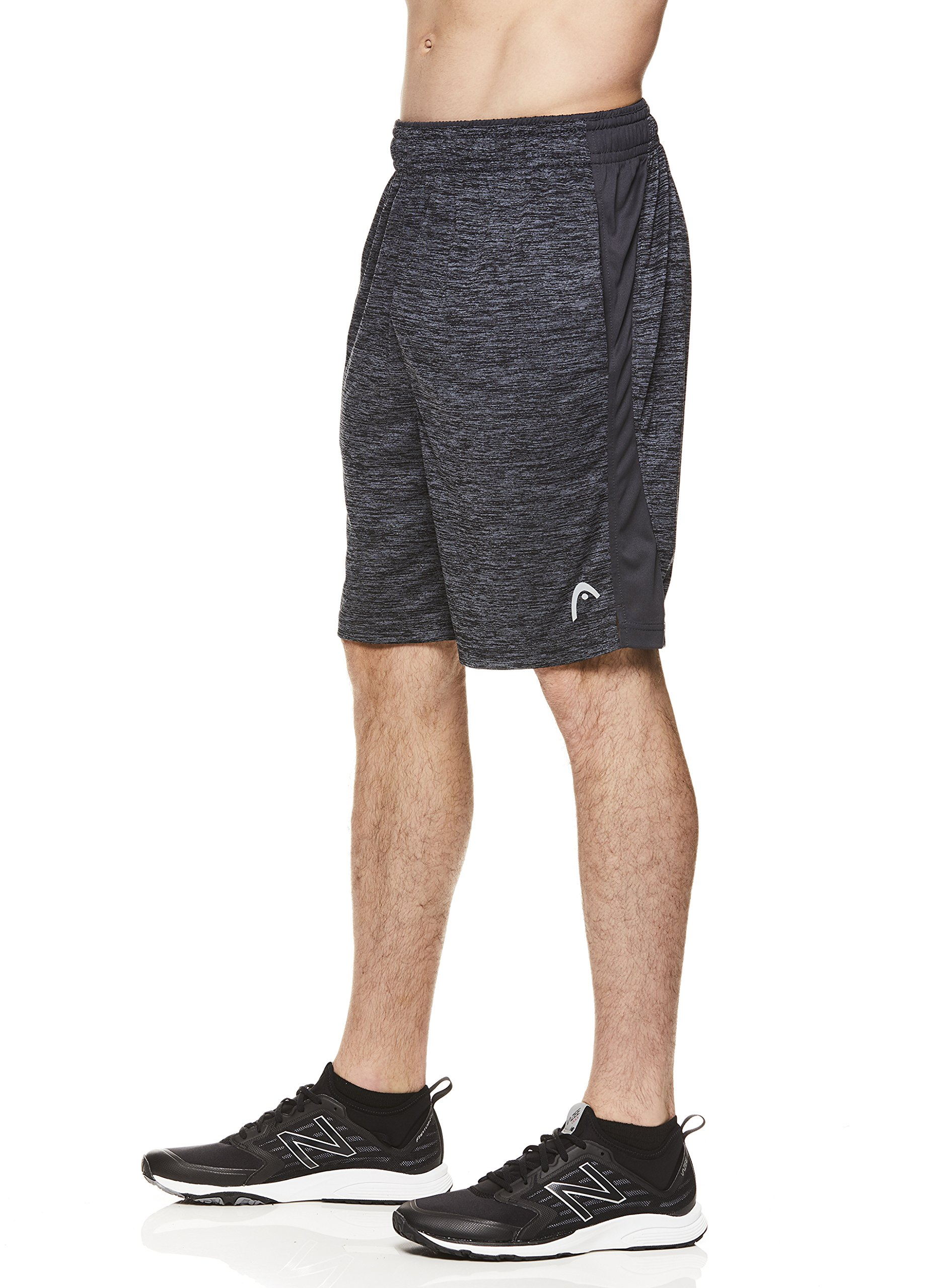 HEAD Men's Polyester Workout Gym & Running Shorts w/Elastic Waistband & Drawstring - Firestarter Ebony Heather Black, 2X