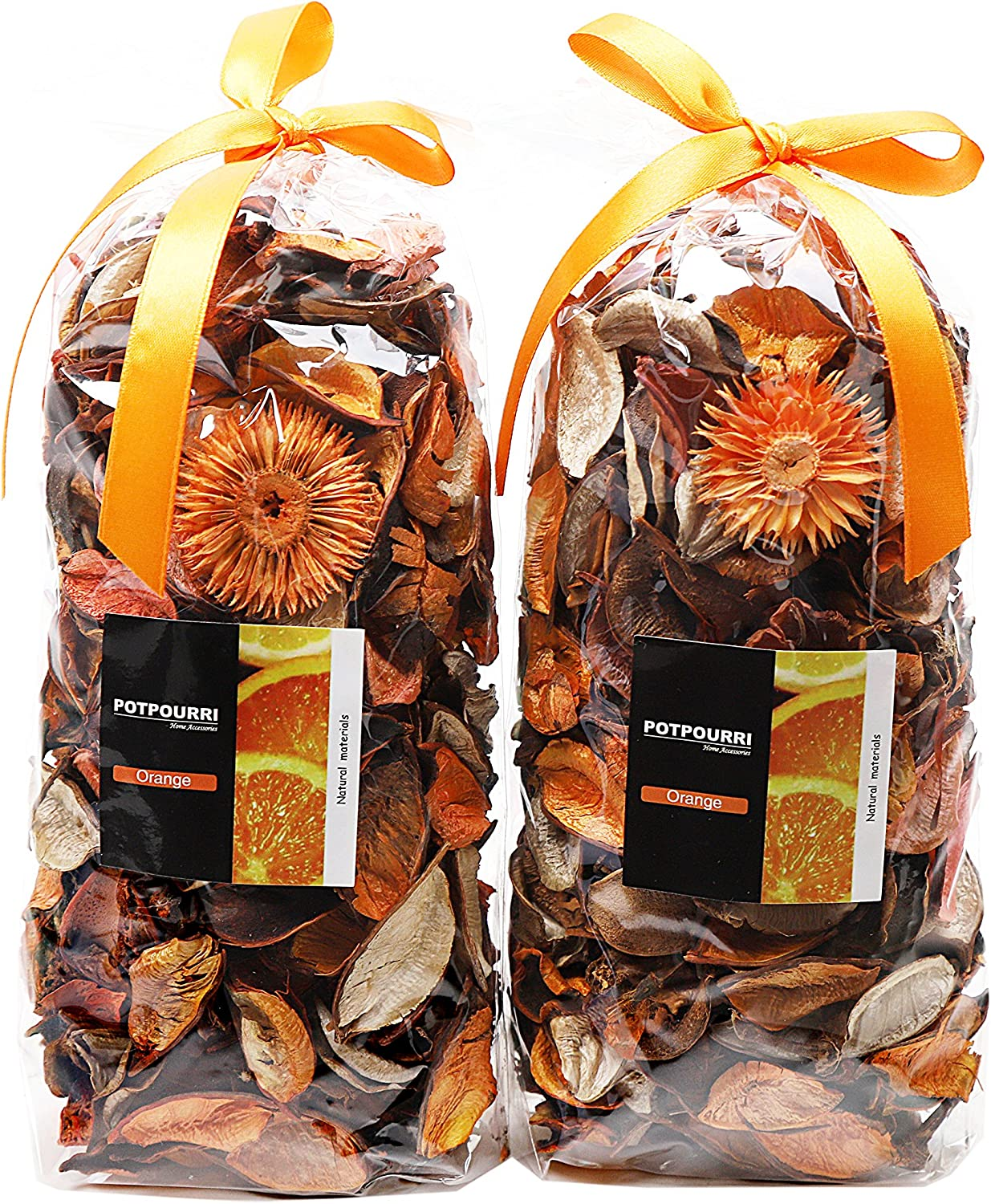 Qingbei Rina Gifts Orange Fresh Potpourri Bag Home Fragrance Perfume Sachet of Petal,Bowl and Vase Decorative Filler,2 Bags, 240g, Suitable for Filling a 83 Fluid-Oz Bowl (Orange)