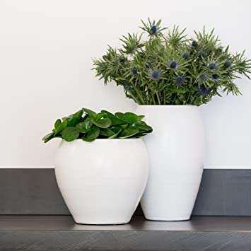 TS Indoor Keramik Blumentopf Cresta D28cm weiß weiß: Amazon.de: Garten