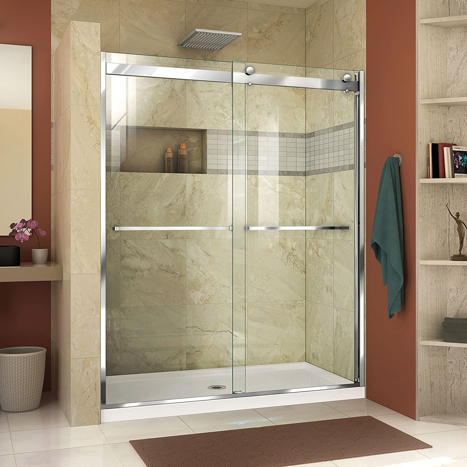 DreamLine SHDR-634876H-01 Essence-H 44-48 W x 76 H Frameless Bypass Shower Door, Chrome
