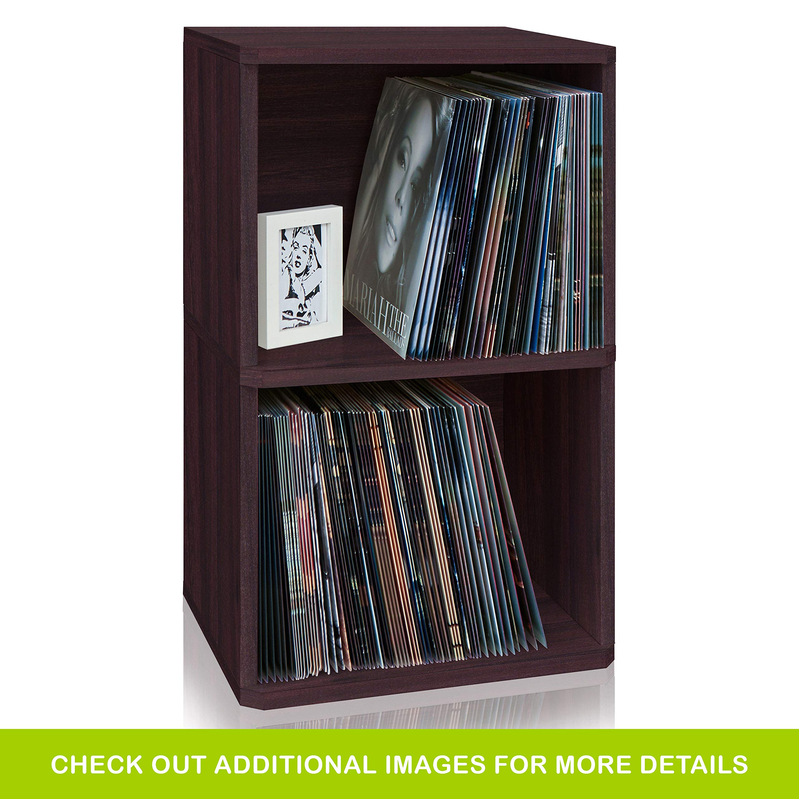 Way Basics 2-Shelf Vinyl Record Storage Cube and LP Record Album Storage Shelf, Espresso