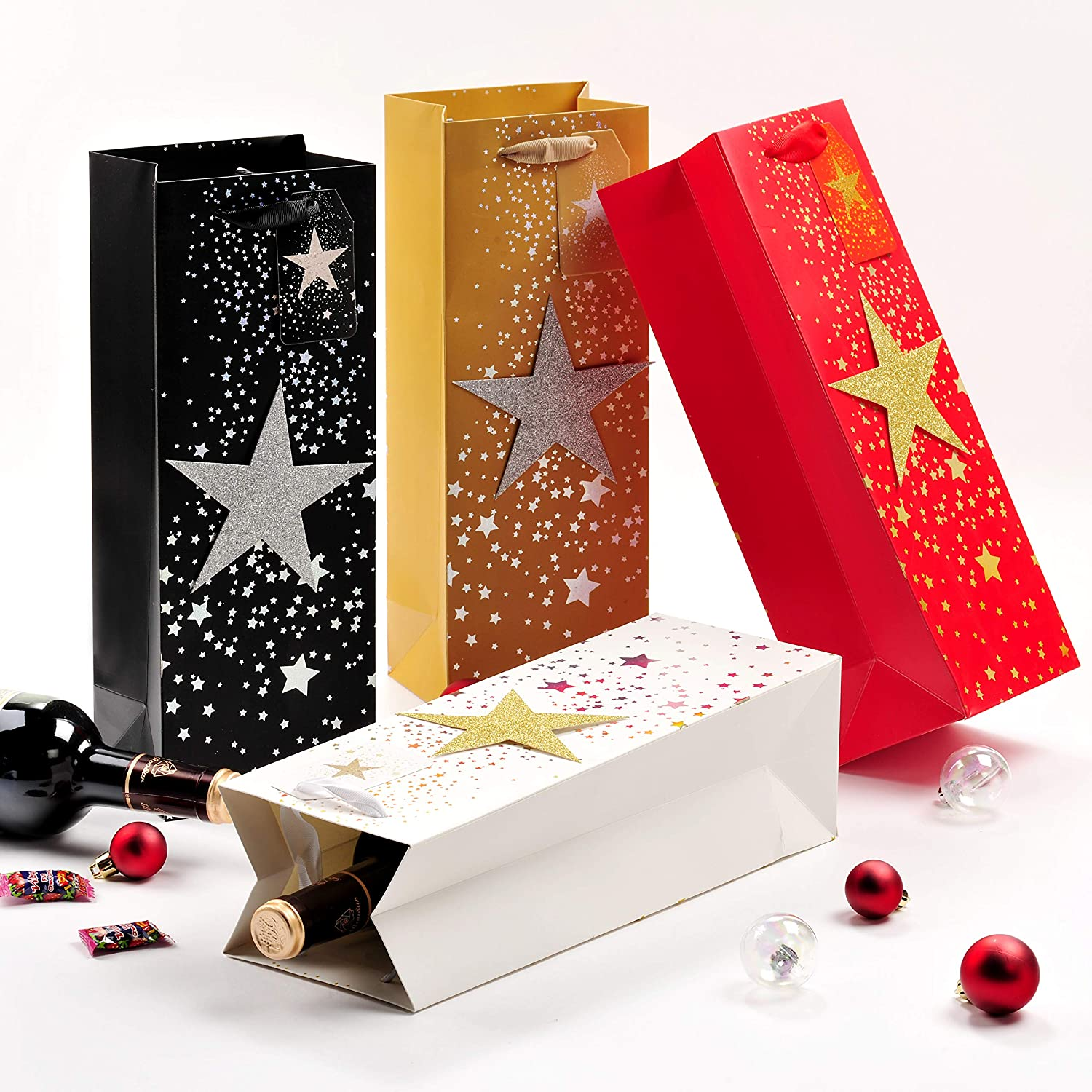 4 Pack Wine Gift Bags for Christmas, Bling Bottle Gift Bags with Stars for Thanks-Giving Day, Wine Wrapping Bags with Handles, Paper Gift Bags for Holiday, Wine Bottle Bags for Home Party (Stars)