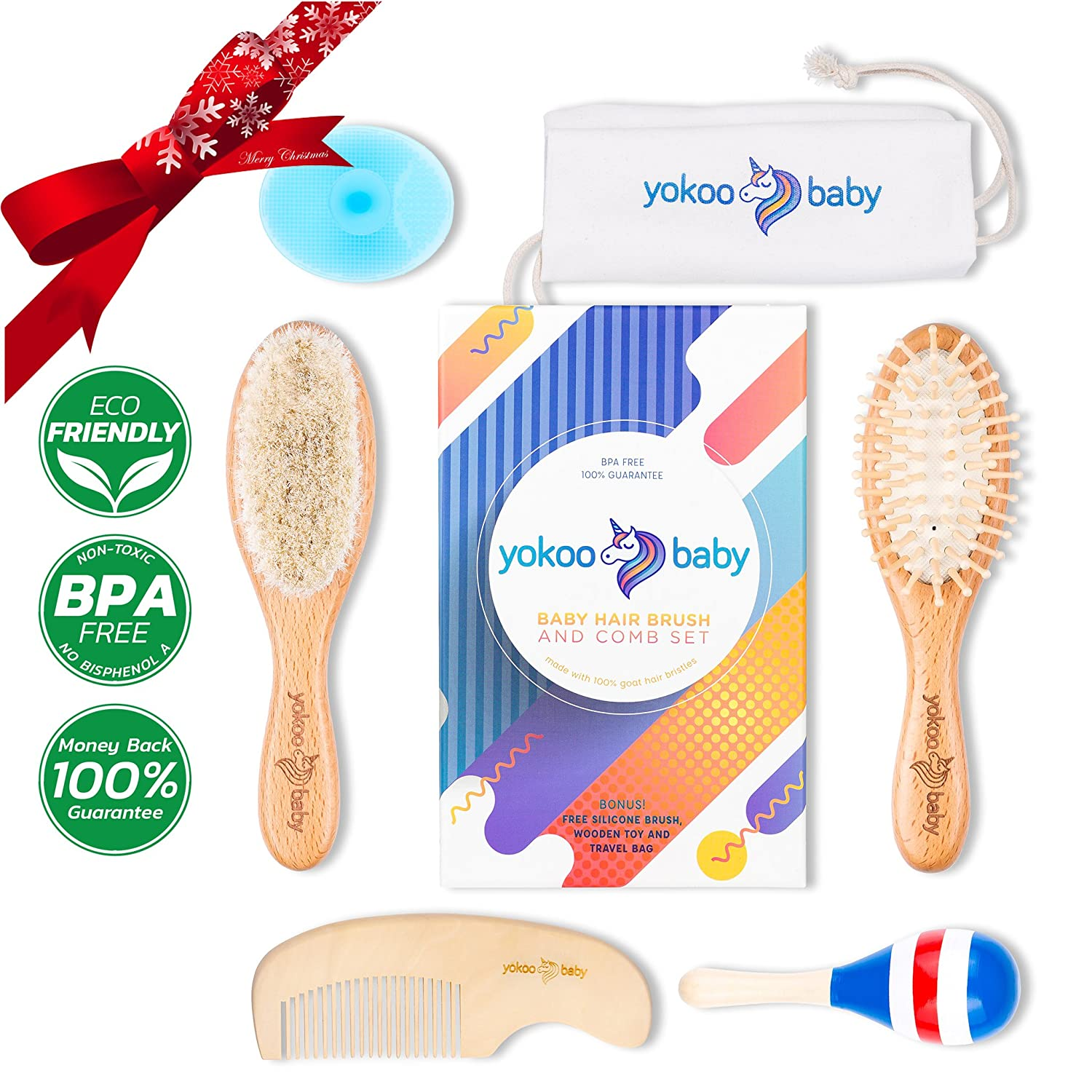 Amazon.com : 6 Piece Premium Quality Wooden Baby Hair Brush and Comb ...