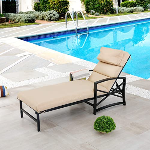 LOKATSE HOME Patio Chaise Lounge Chair Outdoor Furniture Reclining Adjustable with Cushion and Soft Pillow for Pool, Deck, Yard, Khaki