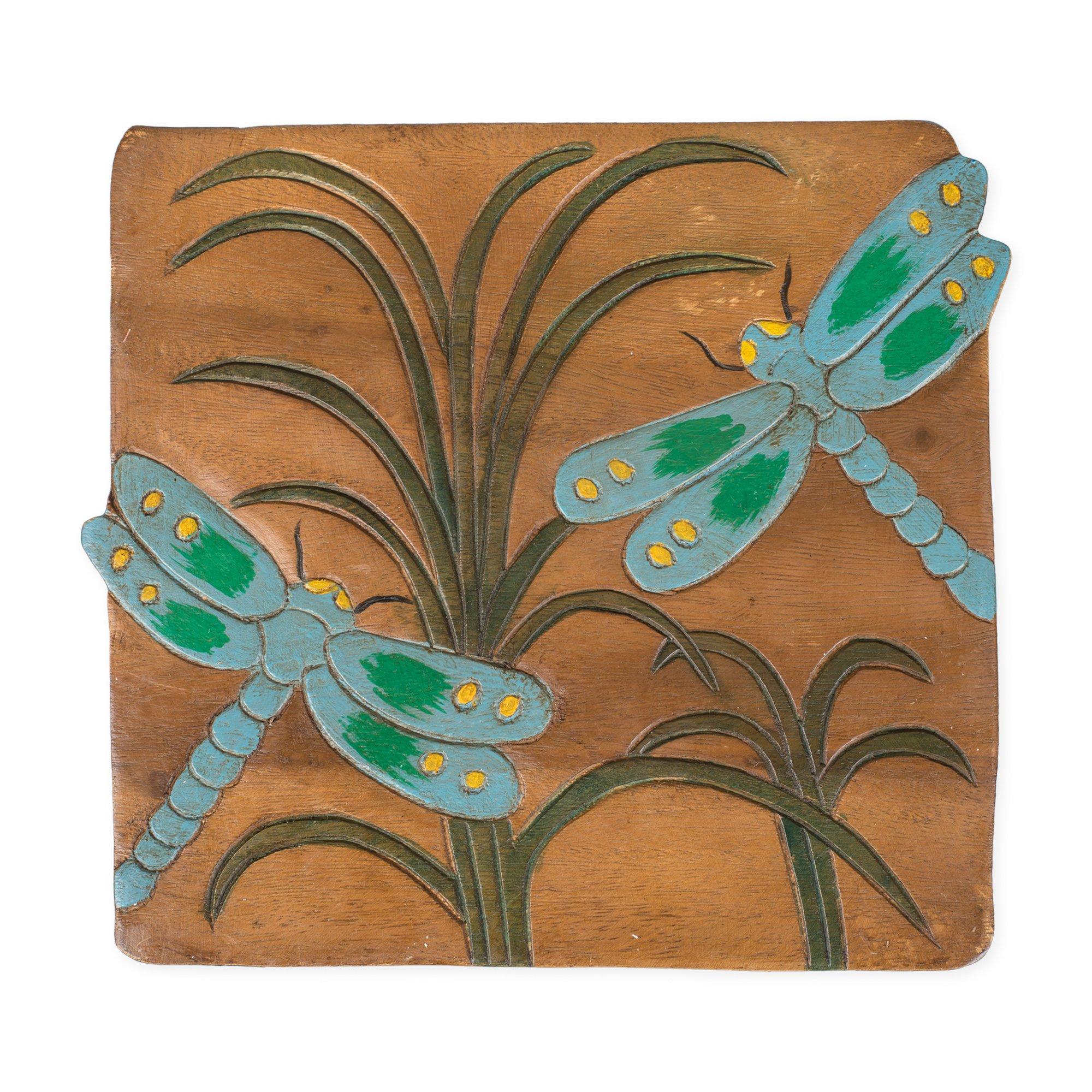 Dragonfly Design Hand Carved Acacia Hardwood Decorative Short Stool by Sea Island (Image #4)