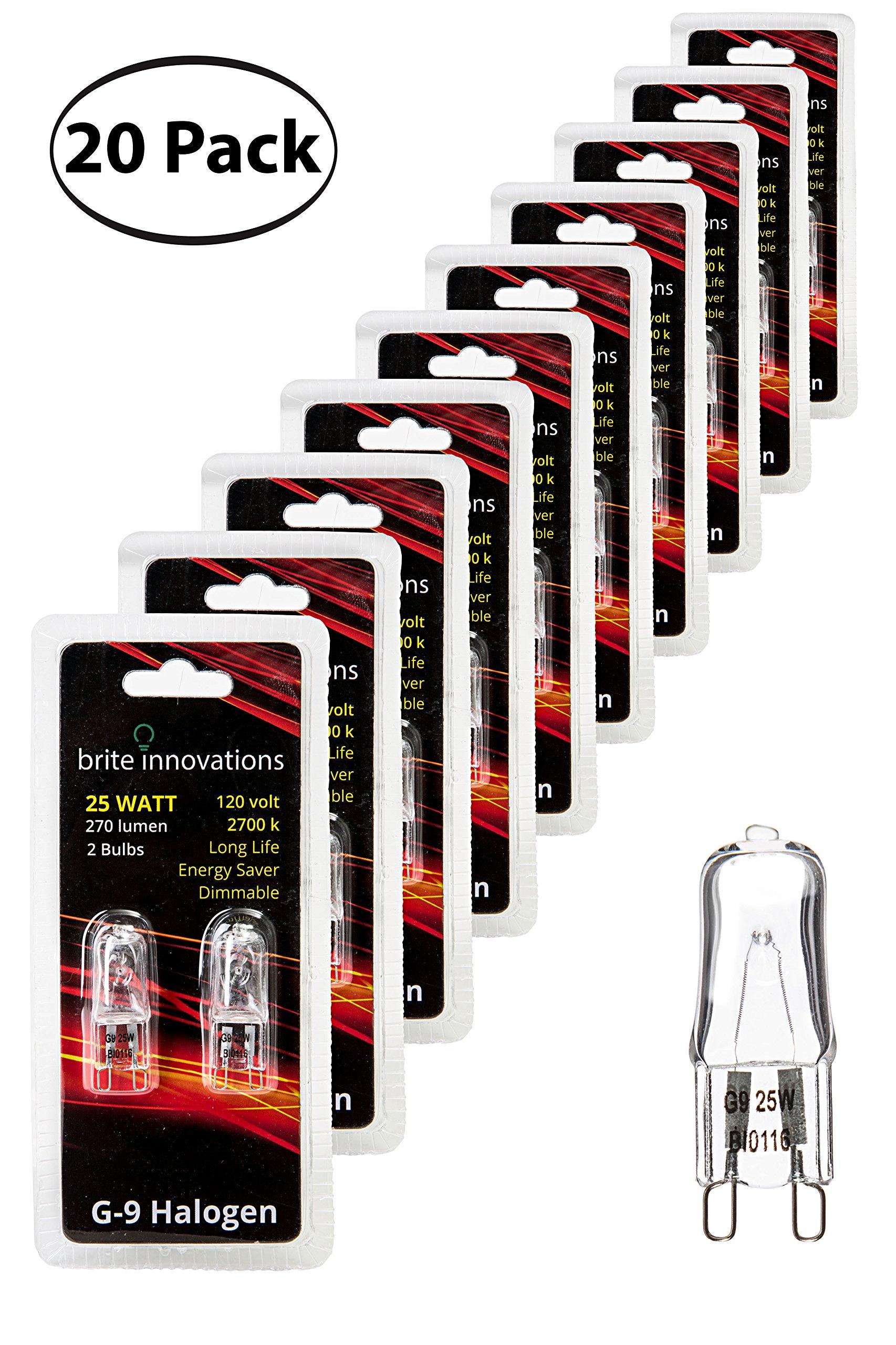 Brite Innovations G9 Halogen Bulb, 25 Watt - 20 Pack - Energy Saving - Dimmable - Soft White 2700K - 120V - Q40, CL, T4 JD Type, Clear Light Bulb