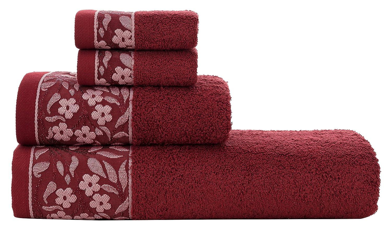 HYGGE Premium 100% Turkish Cotton Towel Set with Floral Jacquard; 1 Bath Towel (27 x 56); 1 Hand Towel (19 x 32); 2 Washcloths (12 x 12) (Cream)