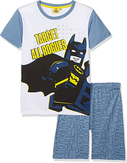Lego Batman Ragazzi Pigiama Maniche Corte Bianco