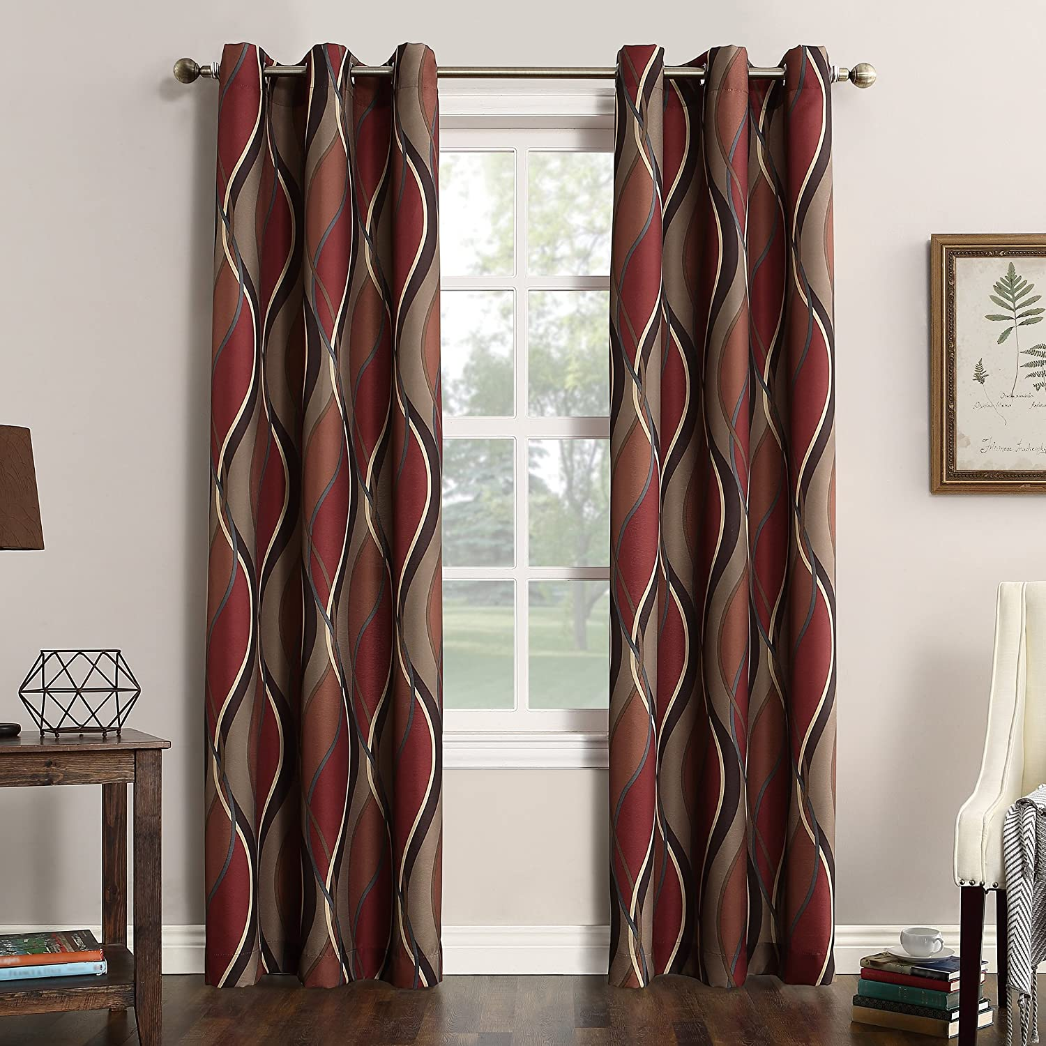 Amazon Com No 918 Intersect Wave Print Casual Textured Curtain Panel Paprika 48 X 84 Home Kitchen