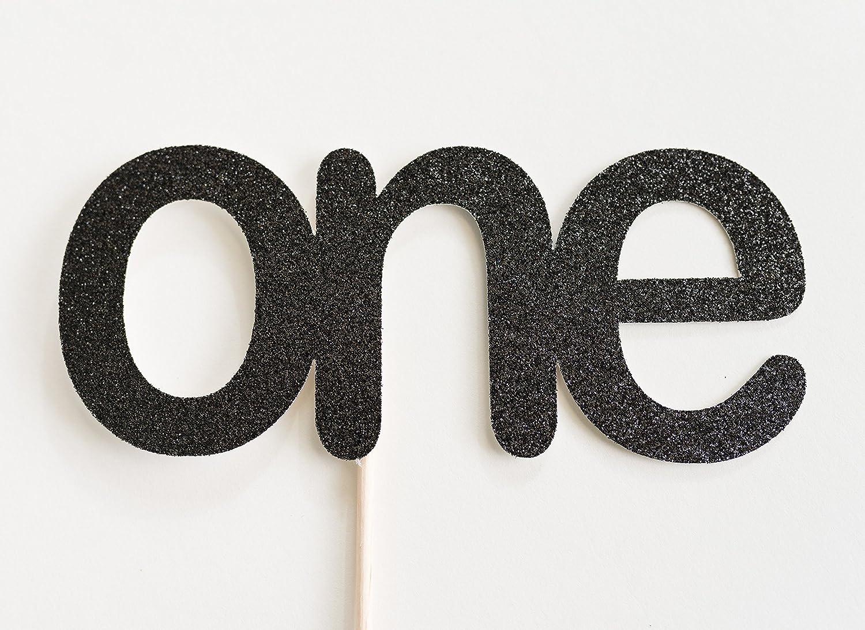Black Glitter One Cake Topper, First Birthday, Cake Smash, 1st, I Am One