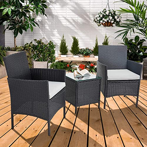 Incbruce Patio Bistro Set 3-Piece Outdoor Wicker Furniture Sets, Black Modern Rattan Garden Conversation Chair and Table Set Furniture, Black Glass Coffee Table, Light Gray Cushion