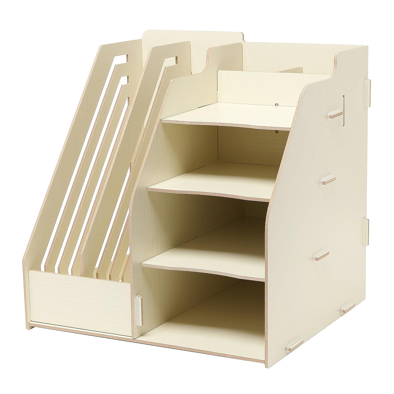 Amazon.com : Wood Board Desktop Organizer Rack W/ 2 Document, Magazine  Slots, Shelf U0026 Office Supply Holder, Beige : Office Products