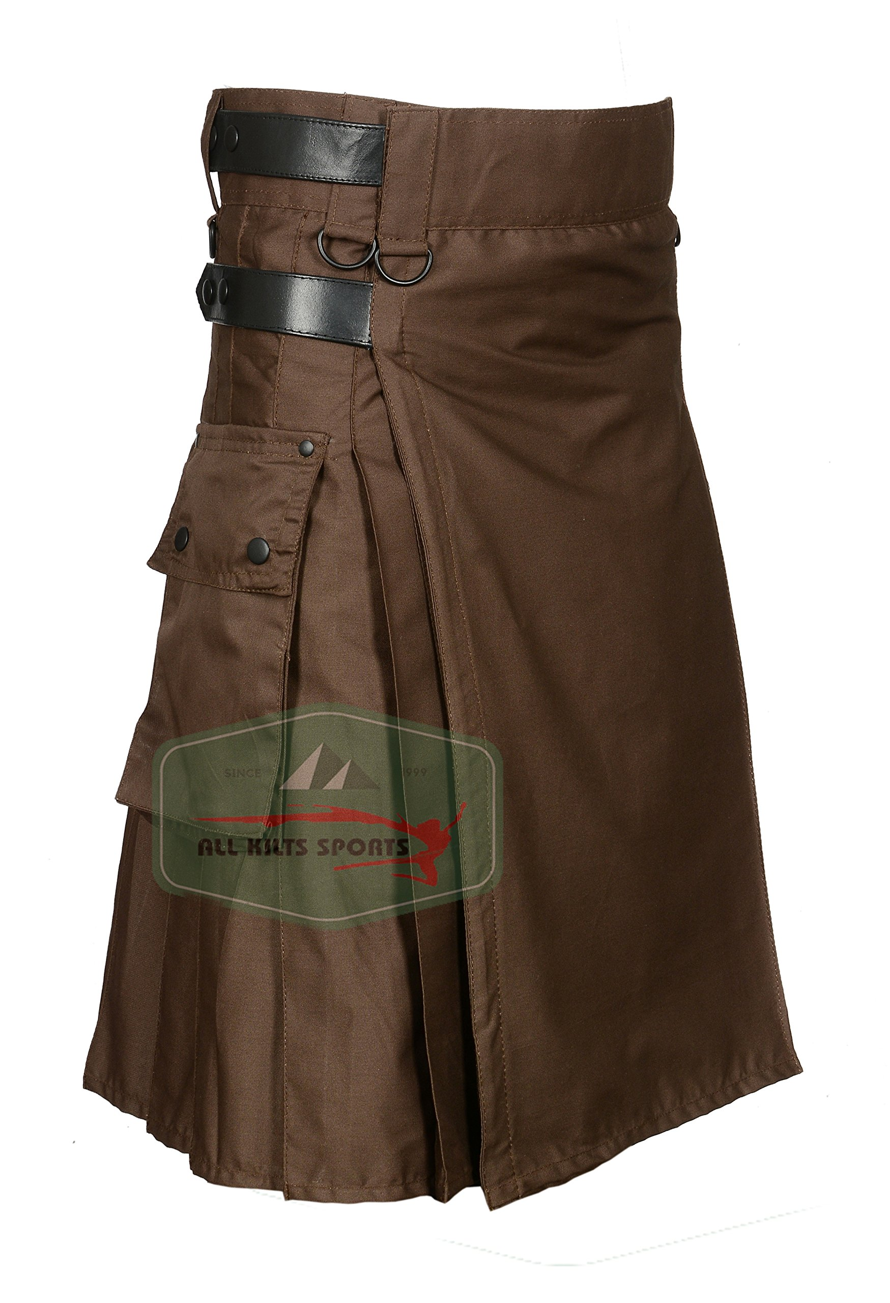 Chocolate Brown Leather Strap Utility Kilt For Active Man Kilt Wedding Kilts (32)