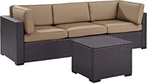 Crosley Furniture KO70111BR-MO Biscayne 3-Piece Outdoor Wicker Seating Set, Brown with Mocha Cushions