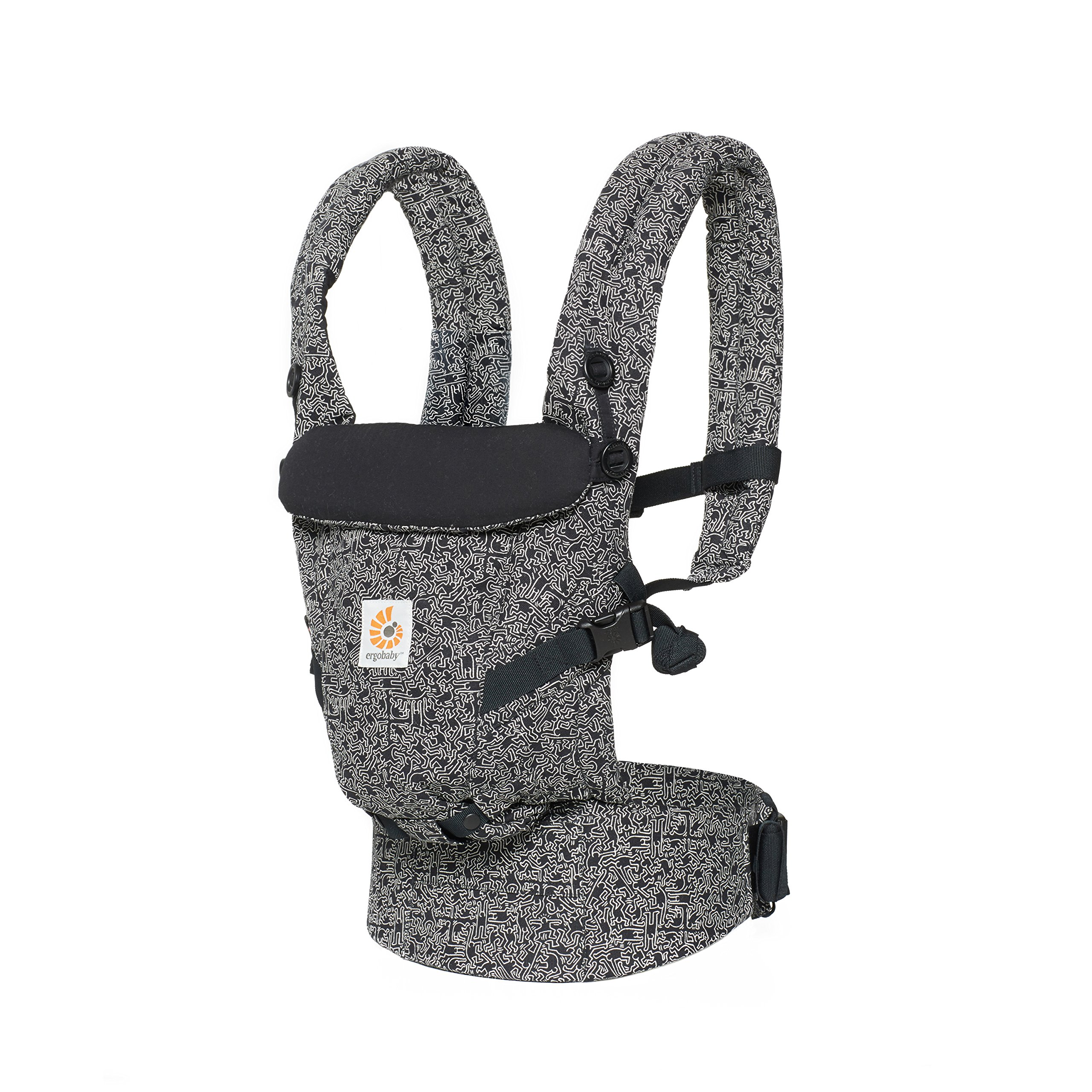 Ergobaby Adapt Award Winning Ergonomic Multi-Position Baby Carrier, Newborn to Toddler, Special Edition Keith Haring, Black