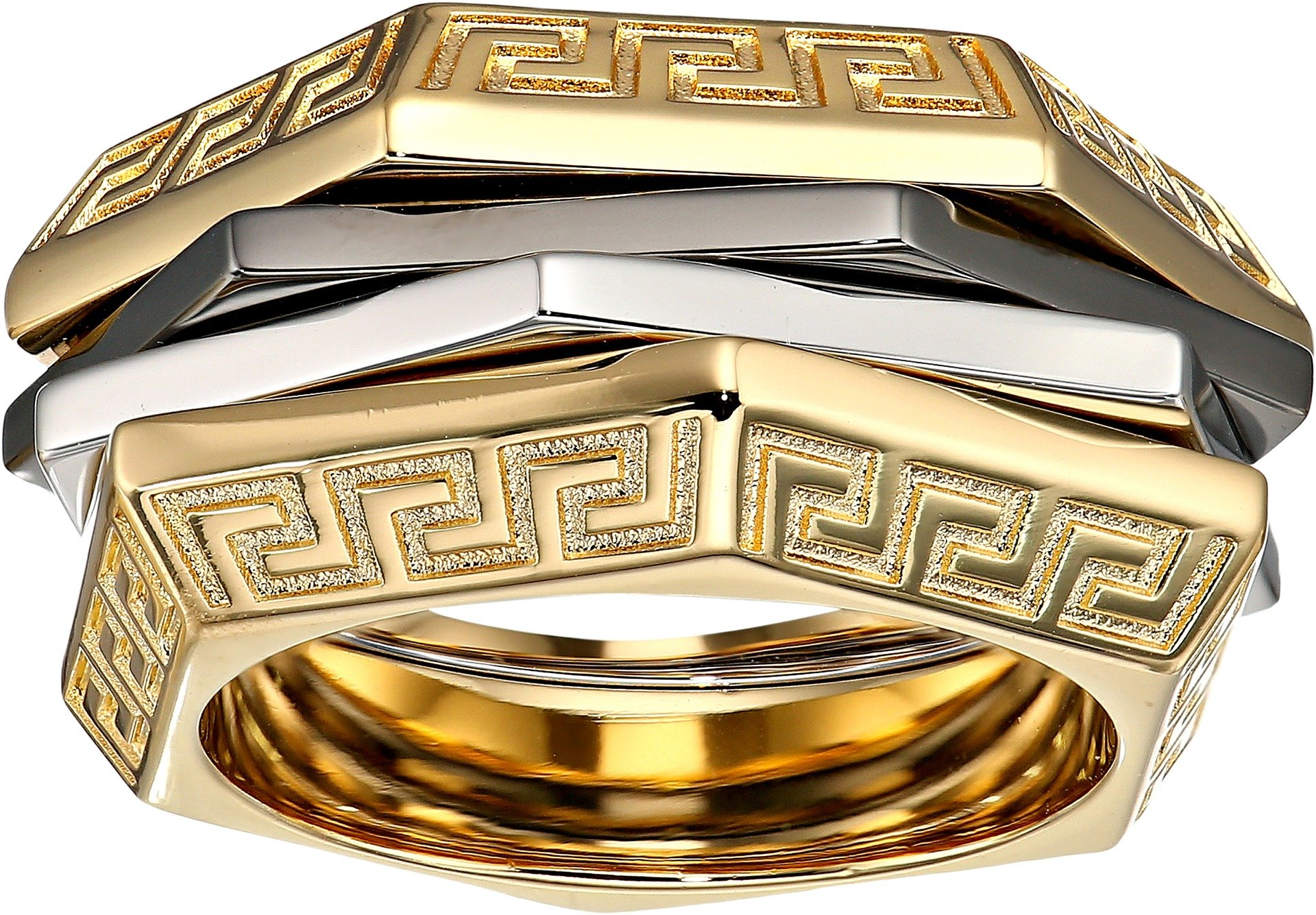Versace Unisex Tricolor Ring Gold/Silver/Black Ruthenium 19 (US 7.5)