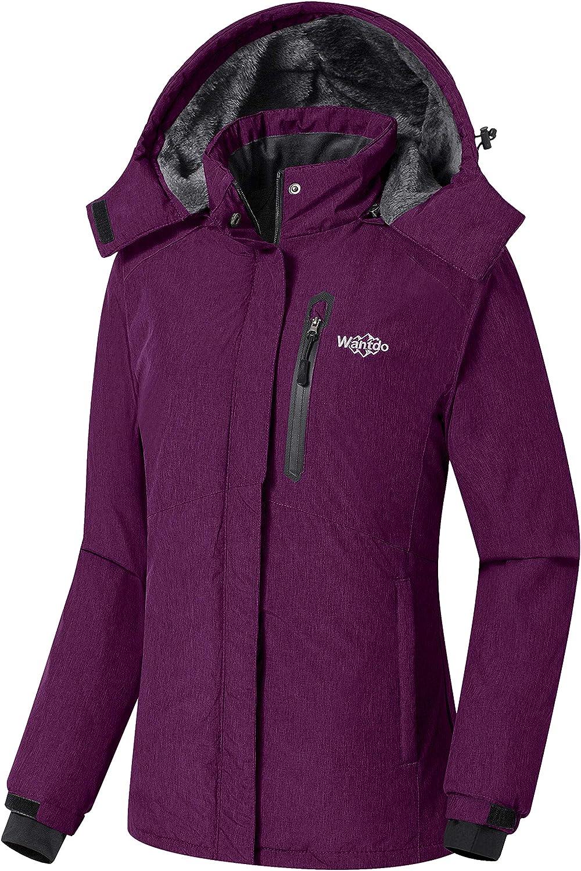 Wantdo Women's Waterproof Ski Jacket Fleece Winter Parka Windproof Snow Coat