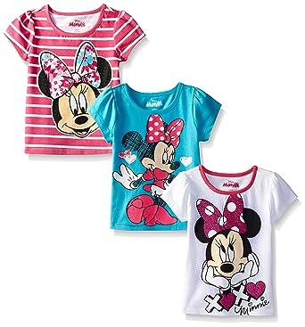 29bbd97f1fed Amazon.com: Disney Girls' 3 Pack Minnie Mouse T-Shirts: Clothing