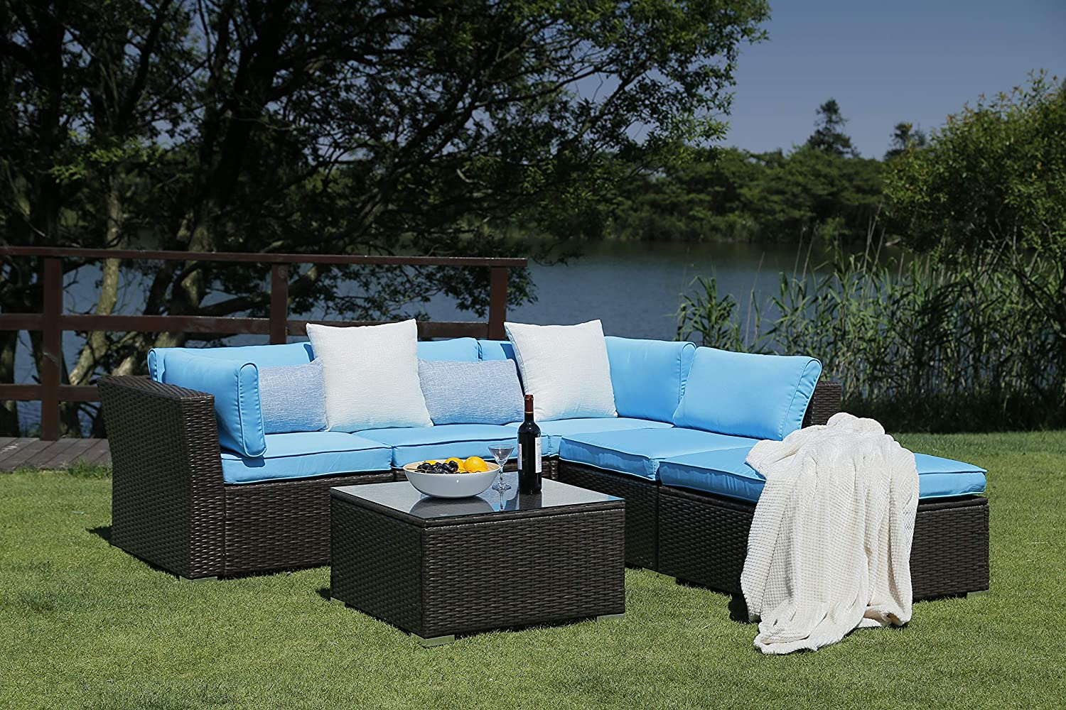 N V Patio Furniture Set 6 Pieces Modern Outdoor Furniture Sofas with Seat Cushions Pillows Tea Table Glass Top Lumbar Pad Blanket Fashion Couch Sets for Garden Backyard Pool Blue