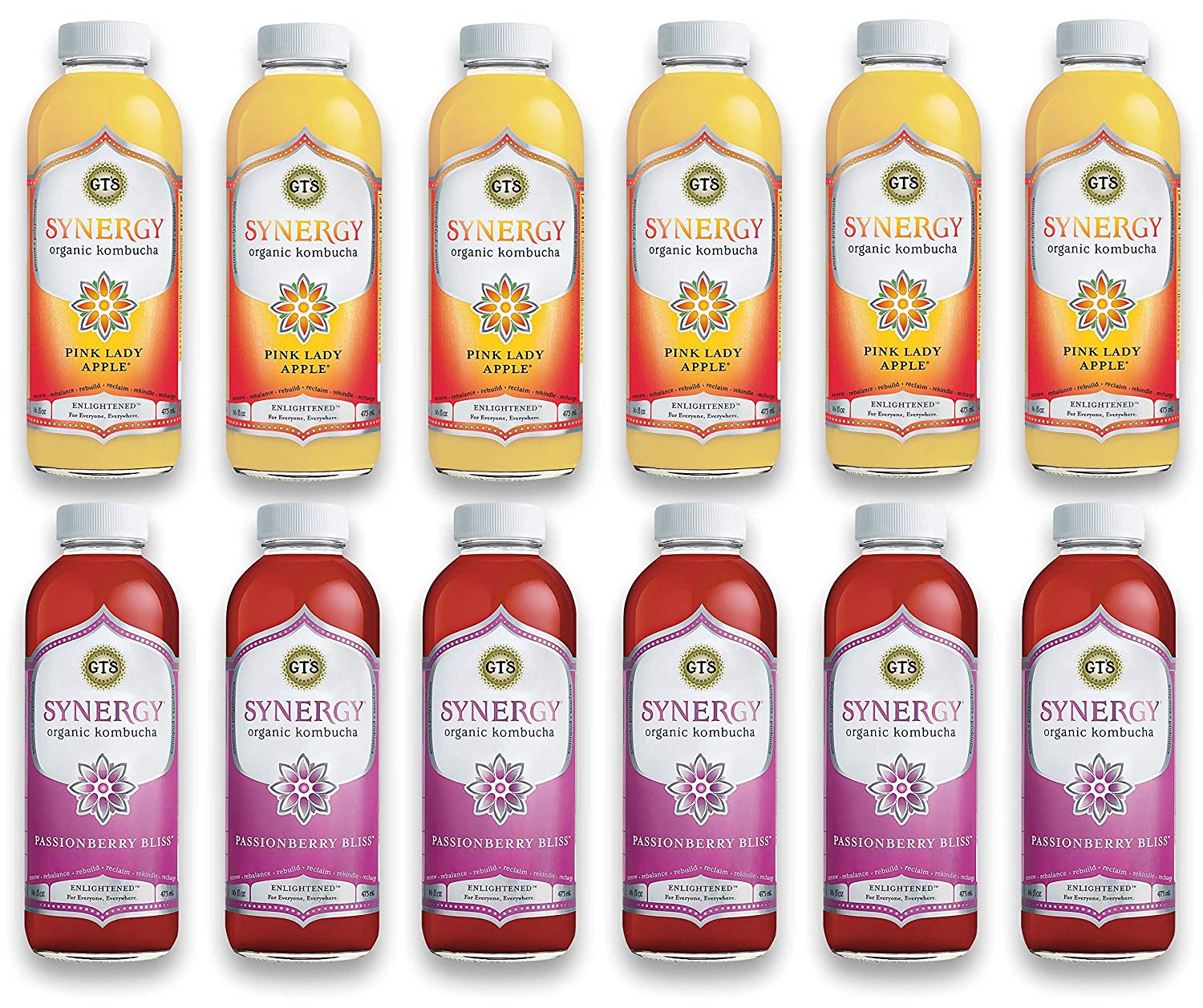 LUV BOX-Variety GT's KOMBUCHA Synergy Kombucha Pack,16 fl oz,12 pk,Pink Lady Apple , Passionberry Bliss