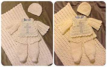 9a05a5647 Handmade Crochet Knit Baby Boy Christening Outfit Coming Home Layette Gift  Set Choice of 3 Colors