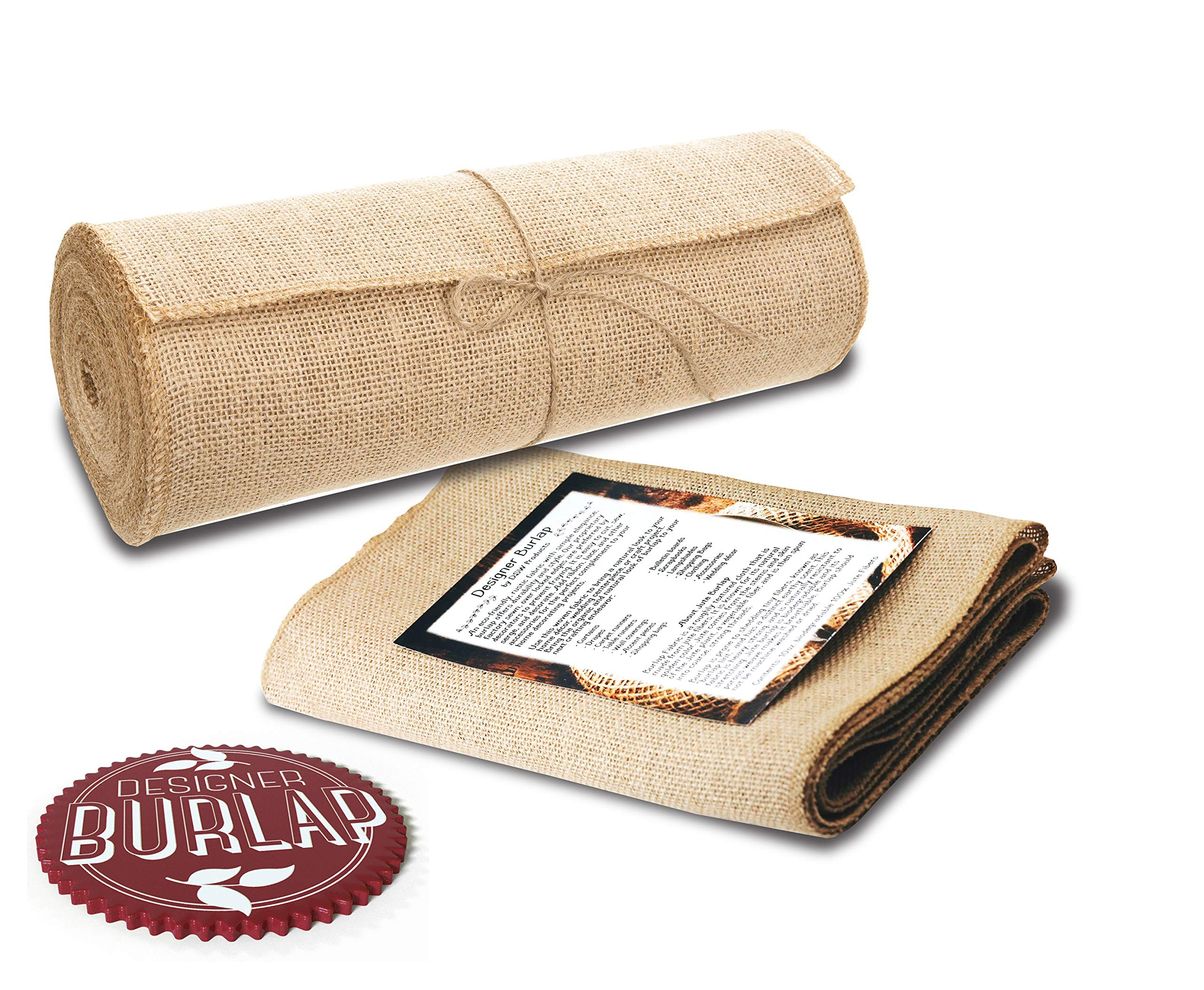 Burlap Table Runners - 12 Inch Wide X 10 Yards Long Burlap Roll - Burlap Fabric Rolls. A No-Fray Burlap Runner with Overlocked and Sewn Edges for Rustic Weddings, Decorations and Crafts! by Designer Burlap