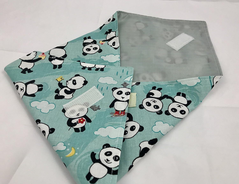 Reusable Sandwich Wrap - Panda Love Bamboo Aqua Blue
