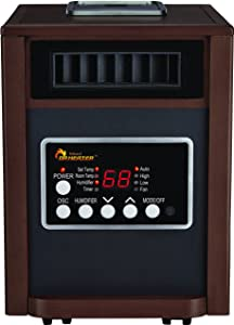 Dr Infrared Heater 1500W, Advanced Humidifier and Oscillation Fan and Remote Control, Walnut DR998, Dual Heating System