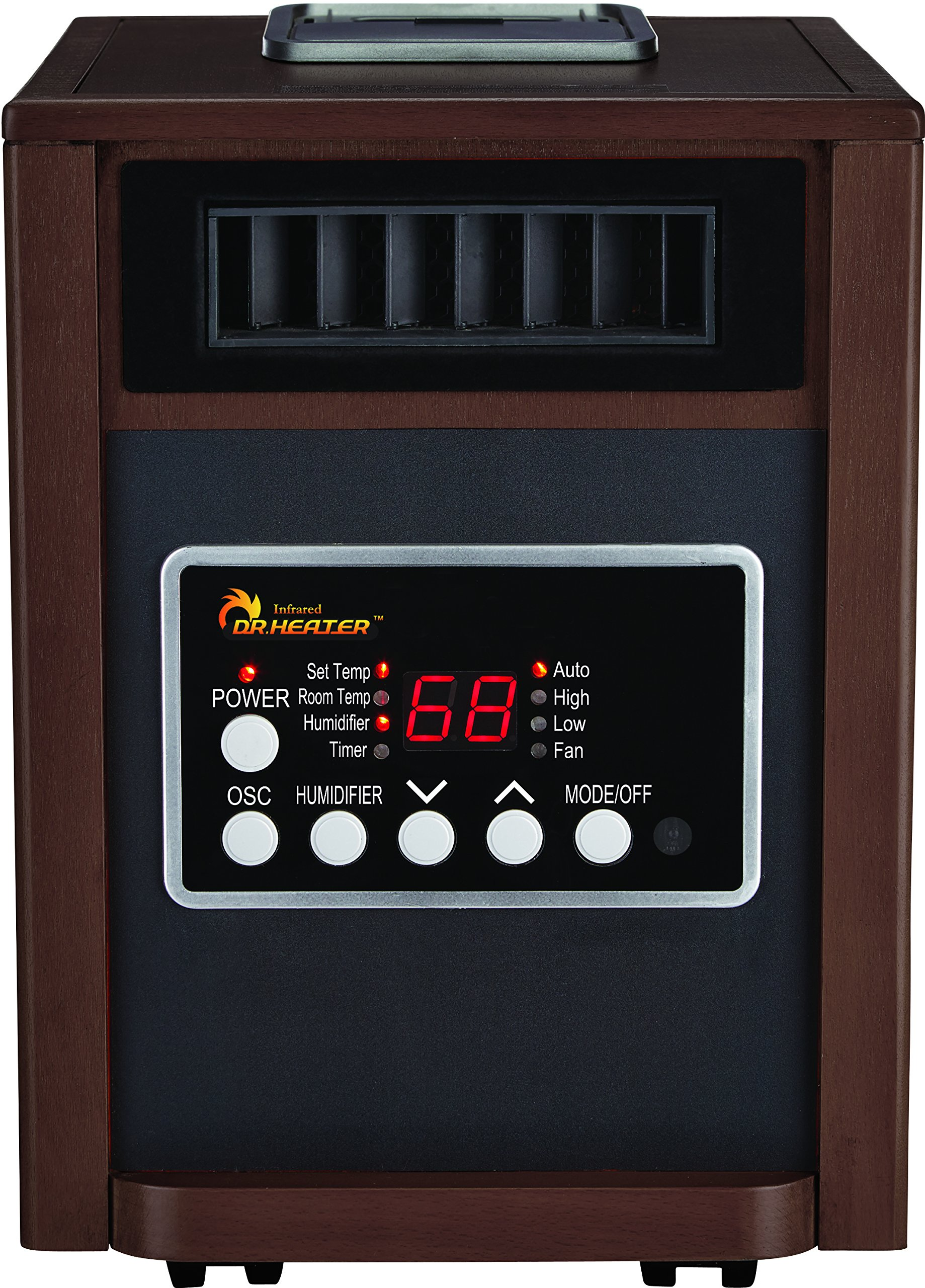 Dr. Infrared Heater DR998, 1500W, Advanced Dual Heating System with Humidifier and Oscillation Fan and Remote Control, Walnut