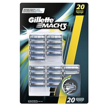 Gillette Mach3 - Cuchillas para afeitadora manual, pack de 20 recargas: Amazon.es: Salud y cuidado personal