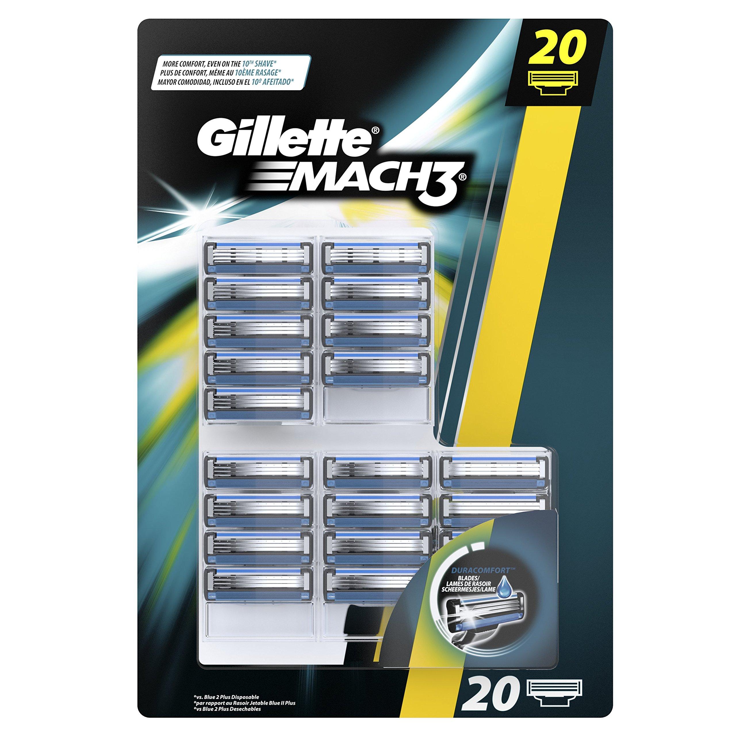 Gillette Mach3 - Cuchillas para afeitadora manual, pack de 20 recargas product image