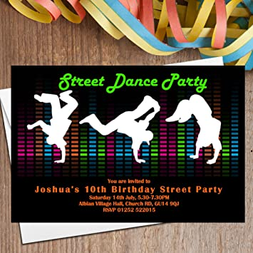 10 personalised street dance party invitations n104 amazon co uk