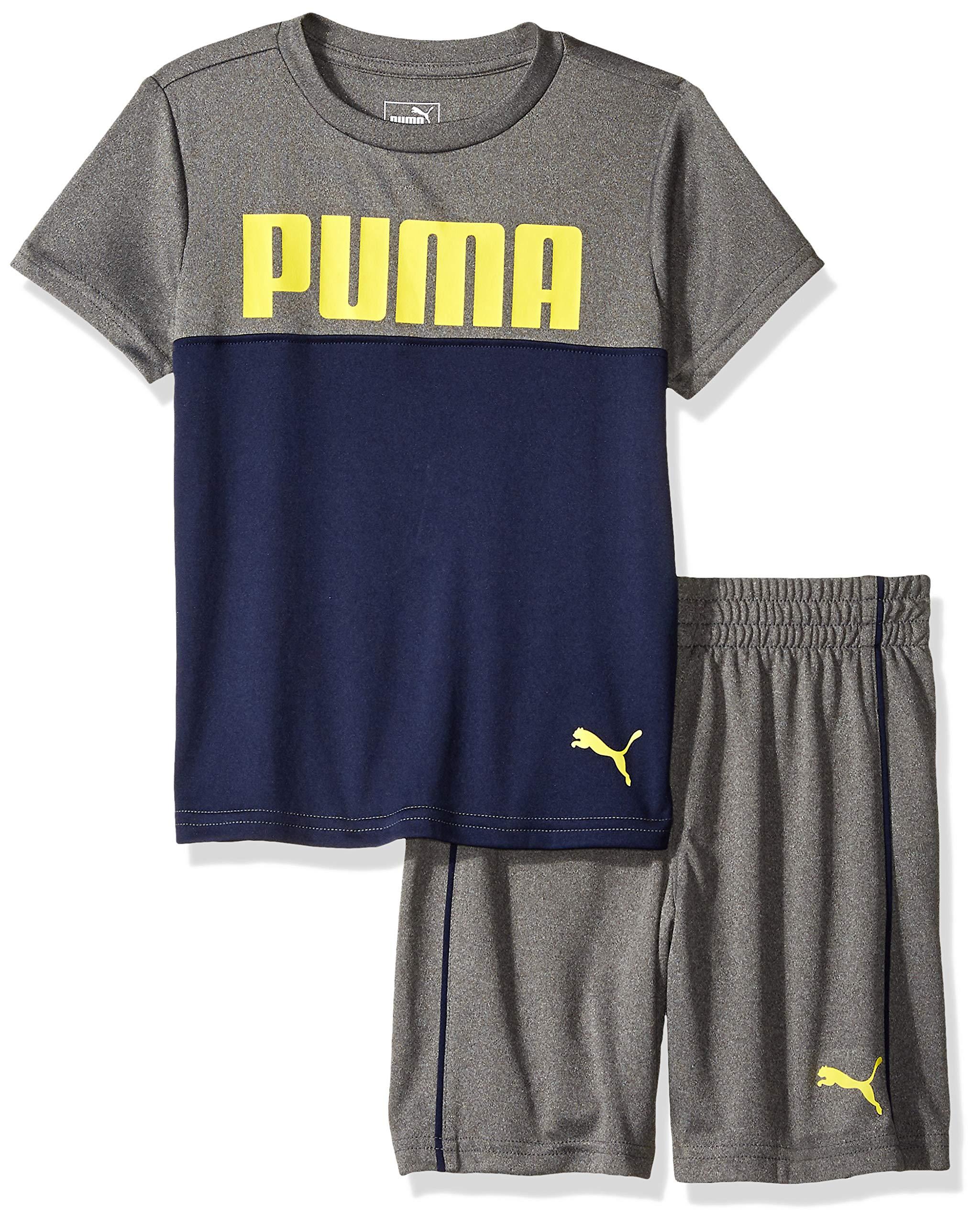 PUMA Little Boys' T-Shirt & Short Set, Coal Heather Grey 4