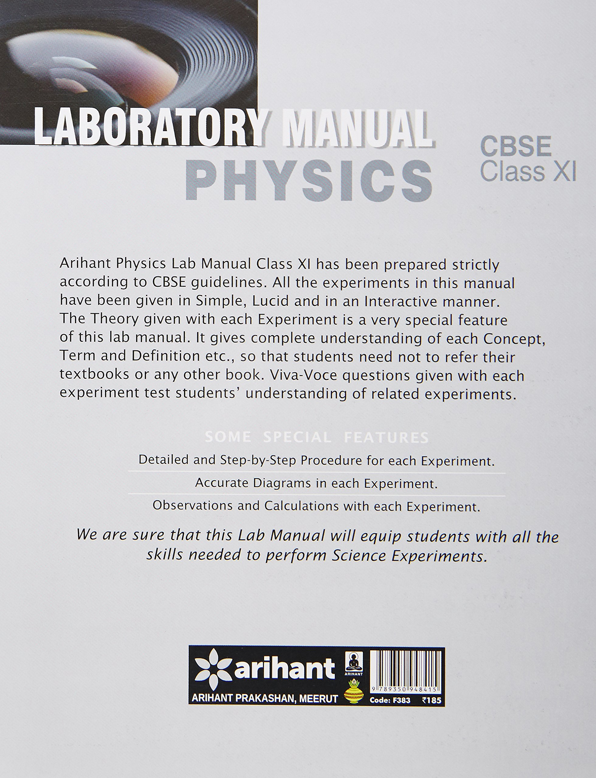 CBSE Laboratory Manual Physics Class 11th Experiments|Activities|Viva-Voce:  Amazon.in: Arihant Experts: Books