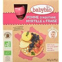 Babybio Gourdes Bio Pomme Myrtille Fraise 360 g - Lot de 3