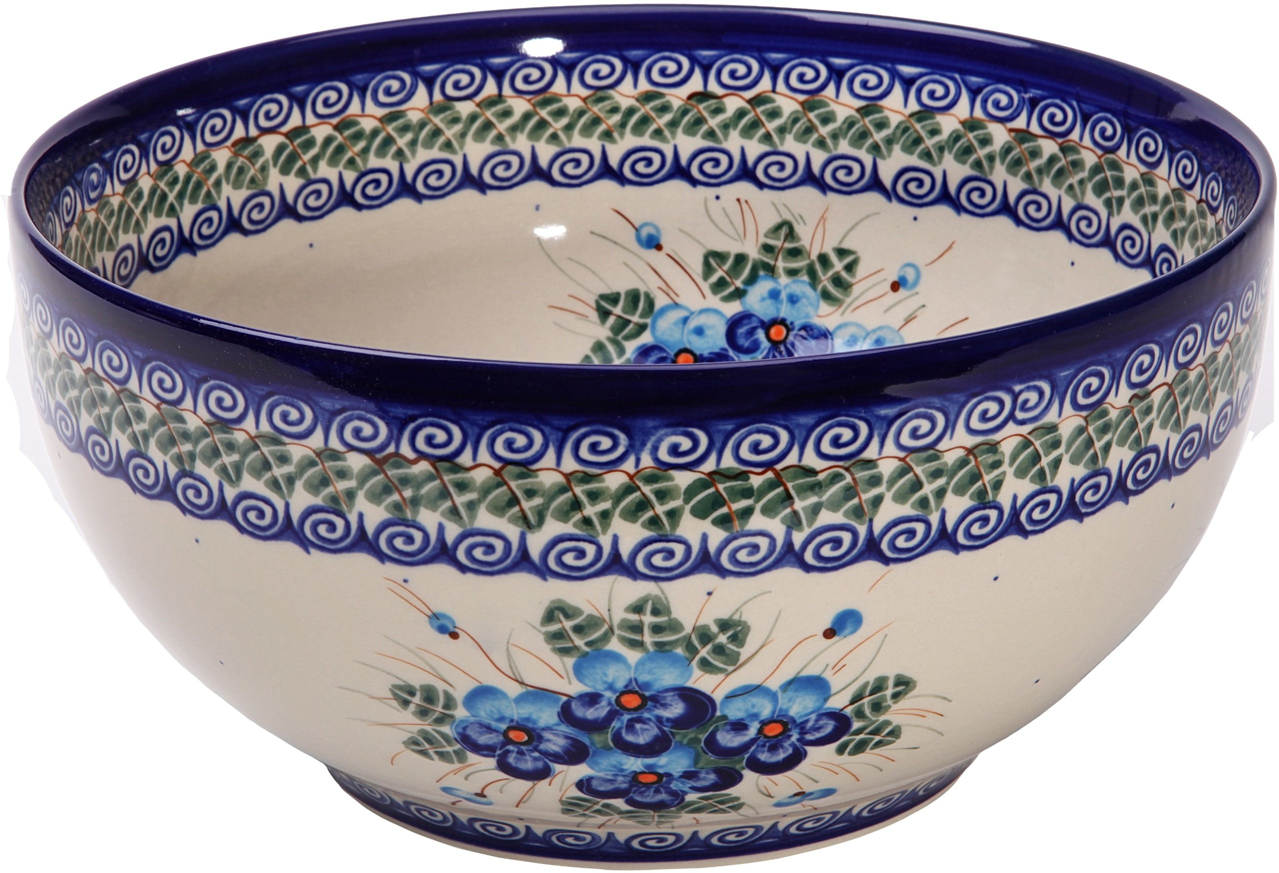 Polish Pottery Ceramika Boleslawiec,  0411/162, Bowl 23, 10 Cups, Royal Blue Patterns with Blue Pansy Flower Motif