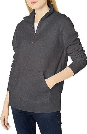 Amazon Essentials Women's Long-Sleeve Lightweight French Terry Fleece Quarter-Zip Top