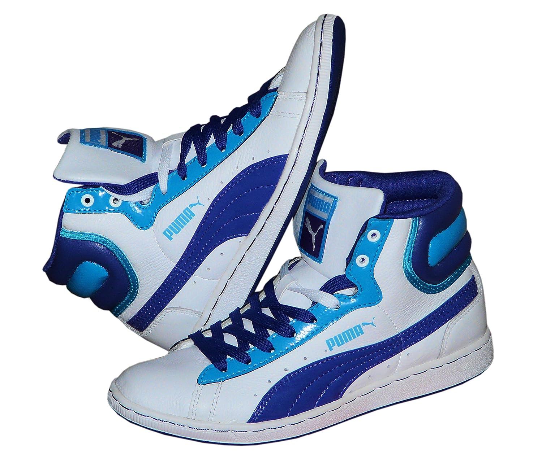 Puma High Sneaker Turnschuh Damen Freizeit Sport  37|Weiss - Dunkelblau - Hellblau
