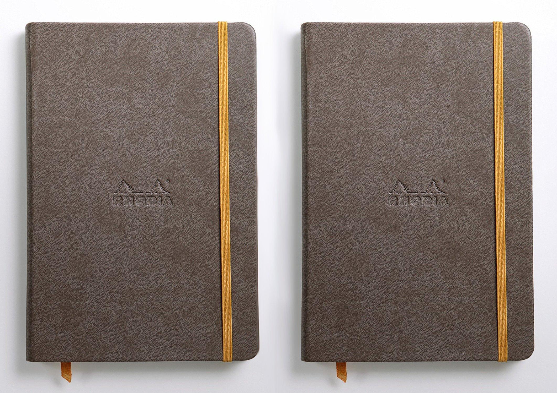 Pack of 2 Rhodia Rhodiarama A5 Webnotebook, 5.5 in x 8.25, Lined - Chocolate (118743)