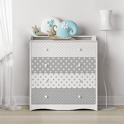 Carta Adesiva per Mobili - Grey white stars and dots decorative ...
