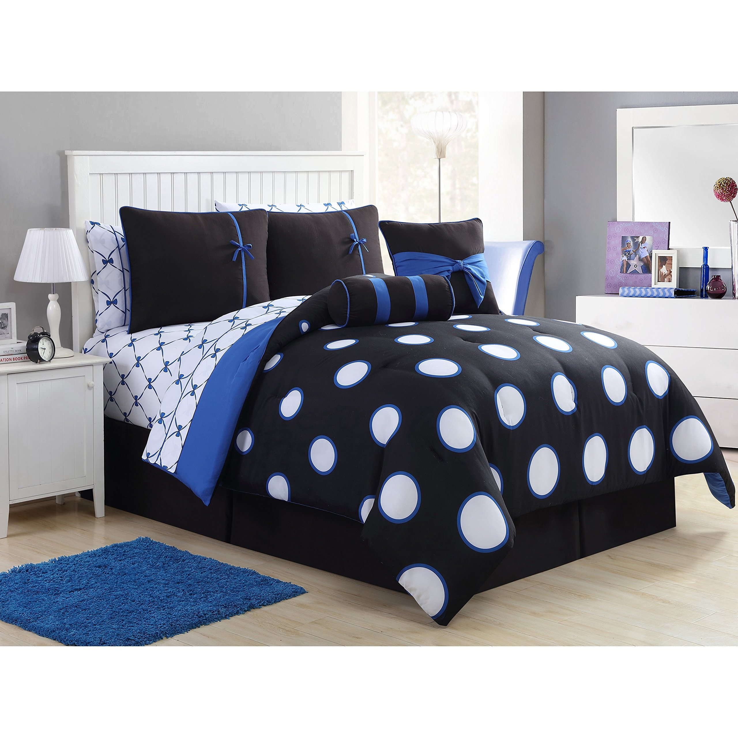 Teen Girl Comforter Sets Blue Black and White Polka Dot Bed in a Bag with Designer Home Sleep Mask (Full Blue)