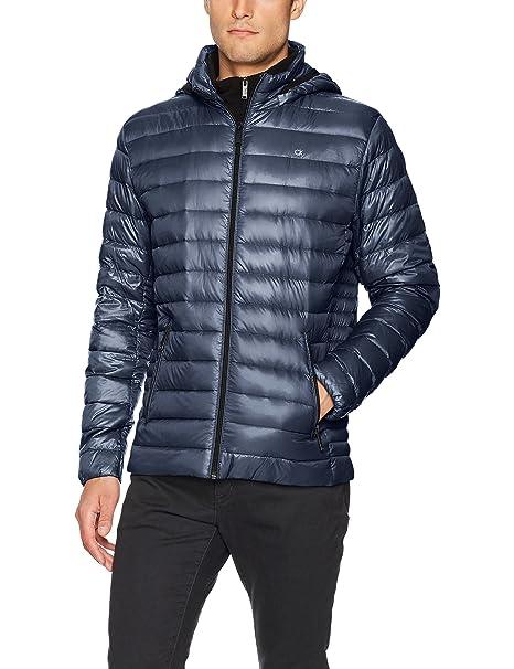 a28c2712a558 Calvin Klein Mens Packable Down Hoody Jacket Down Outerwear Coat ...